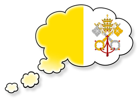 flag of the Vatican City in the cloud, isolated on white background photo