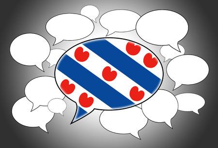 Communicatie concept - Speech wolk, de stem van de Nederlandse provincie Friesland Stockfoto