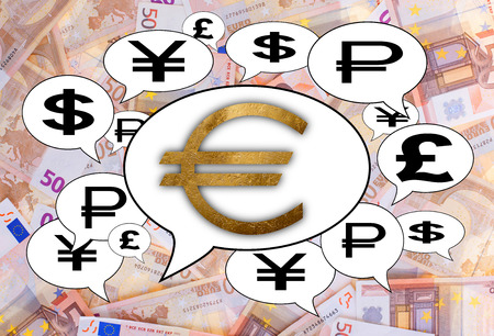 Communication and business concept - Speech cloud, golden euro sign photo
