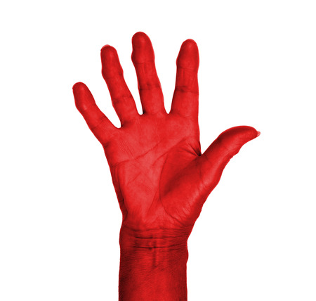 Hand symbol, saying five, saying hello or saying stop, red photo