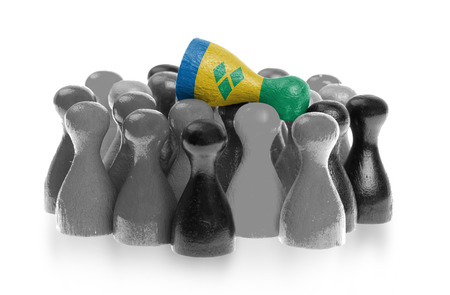 grenadines: One unique pawn on top of common pawns, flag of Saint Vincent and the Grenadines