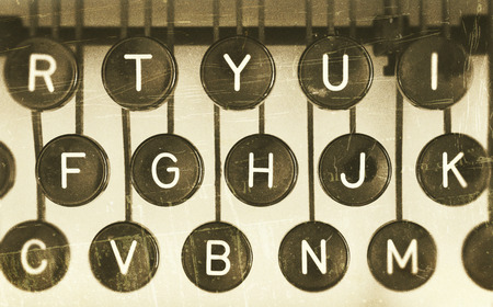 Close-up of the letters of an old typewriter, vintage look photo