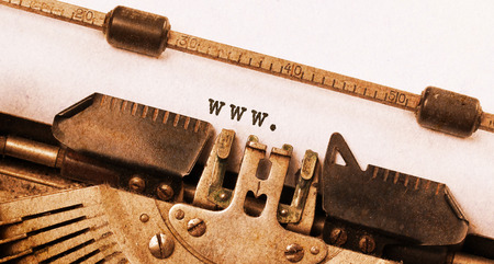 Vintage inscription made by old typewriter, www photo