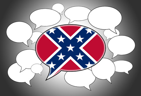 confederacy: Speech bubbles concept with the flag of the Confederacy