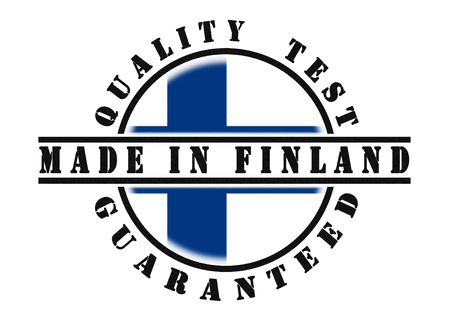 Quality test guaranteed stamp with a Finland national flag inside photo