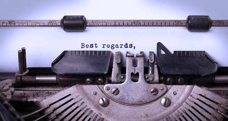 Vintage inscription made by old typewriter, best regards photo