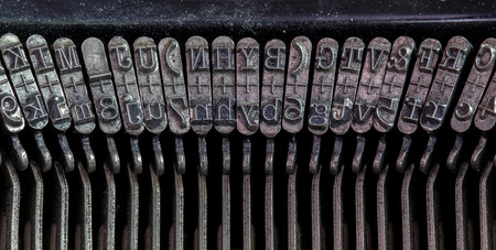 Detail of an old typewriter, machine of the 30s photo
