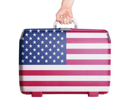 bandiera stati uniti: Plastica utilizzata valigia con macchie e graffi, stampato con bandiera, Stati Uniti d'America