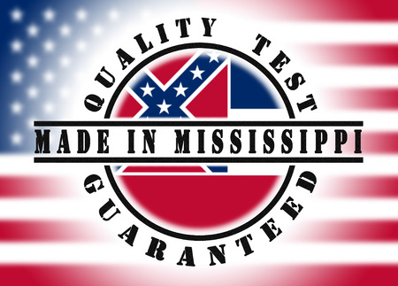 to refuse: Quality test guaranteed stamp with a state flag inside, Mississippi