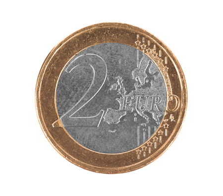 switched: Euro coin, 2 euro, isolated on white, silver and gold are switched