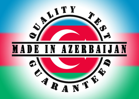 Quality test guaranteed stamp with a national flag inside, Azerbaijan photo