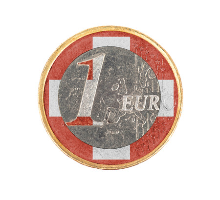 Euro coin, 1 euro, isolated on white, flag of Switzerland photo