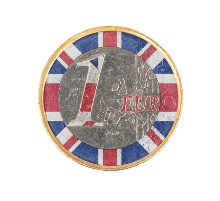 Euro coin, 1 euro, isolated on white, flag of the United Kingdom photo