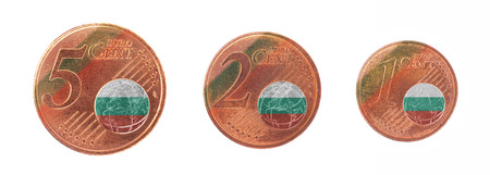 European union concept - 1, 2 and 5 eurocent, flag of Bulgaria photo