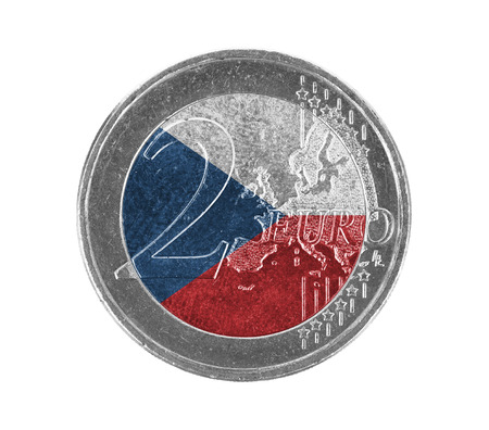 czech republic coin: Euro coin, 2 euro, isolated on white, flag of the Czech Republic