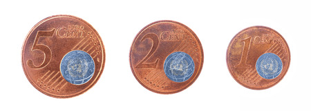 un used: European union concept - 1, 2 and 5 eurocent, flag of the United Nations