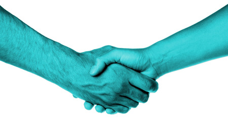 Shaking hands of two people, male and female, blue skin photo