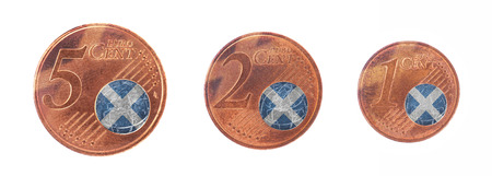 denominations: European union concept - 1, 2 and 5 eurocent, flag of Scotland