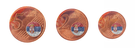 European union concept - 1, 2 and 5 eurocent, flag of Serbia photo