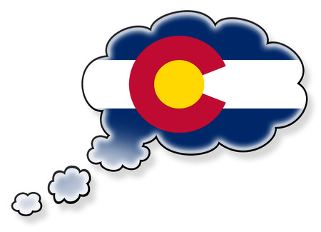 flag of colorado: Flag in the cloud, isolated on white background, flag of Colorado Stock Photo
