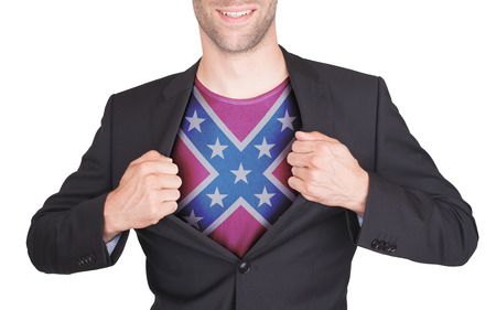 confederacy: Businessman opening suit to reveal shirt with flag, confederacy