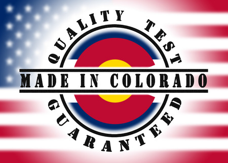 flag of colorado: Quality test guaranteed stamp with a state flag inside, Colorado