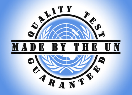united nations: Quality test guaranteed stamp with a national flag inside, United Nations