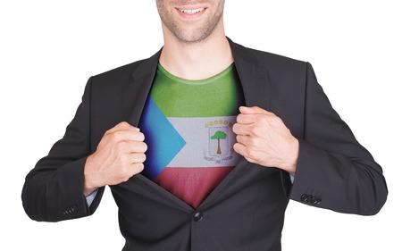 equatorial guinea: Businessman opening suit to reveal shirt with flag, Equatorial Guinea