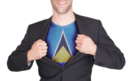 saint lucia: Businessman opening suit to reveal shirt with flag, Saint Lucia