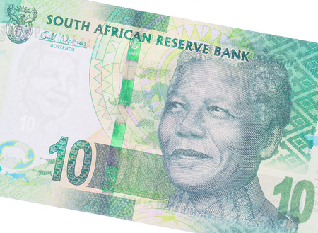 suid: Ten South African Rand, part of a complete banknote