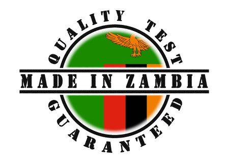 zambian: Quality test guaranteed stamp with a national flag inside, Zambia
