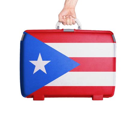 bandera de puerto rico: Maleta de pl�stico usado con manchas y ara�azos, impreso con la bandera, Puerto Rico
