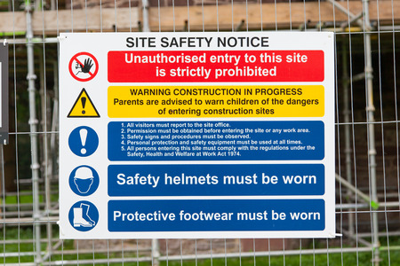 Construction Signs building site, construction environments, isolated by groups Stock Photo
