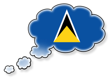 lucia: Flag in the cloud, isolated on white background, flag of Saint Lucia