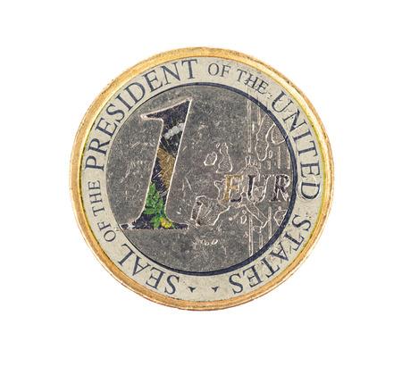 presidential: Euro coin, 1 euro, isolated on white, presidential seal (USA)