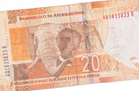 Twenty South African Rand, part of a banknote photo