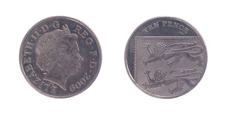 pence: Ten Pence coin over a white background