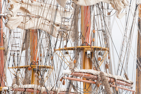 Details of old sail and old ship masts