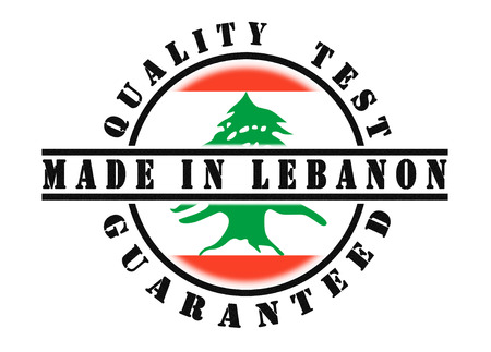passed test: Quality test guaranteed stamp with a national flag inside, Lebanon