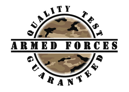 passed test: Quality test guaranteed stamp with a pattern inside, army camouflage
