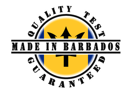 Quality test guaranteed stamp with a national flag inside, Barbados photo