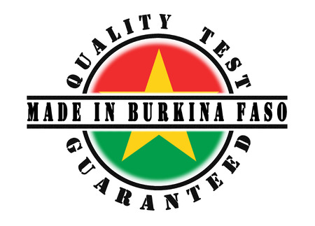 qualify: Quality test guaranteed stamp with a national flag inside, Burkina Faso