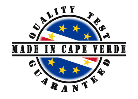 verde: Quality test guaranteed stamp with a national flag inside, Cape Verde