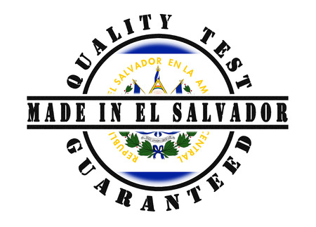 qualify: Quality test guaranteed stamp with a national flag inside, El Salvador