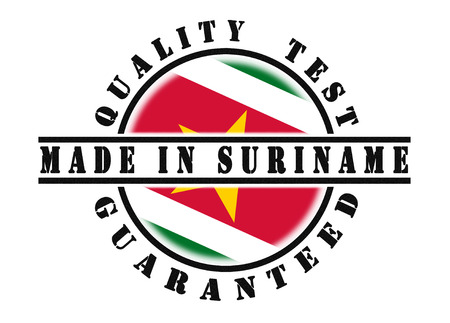 passed test: Quality test guaranteed stamp with a national flag inside, Suriname