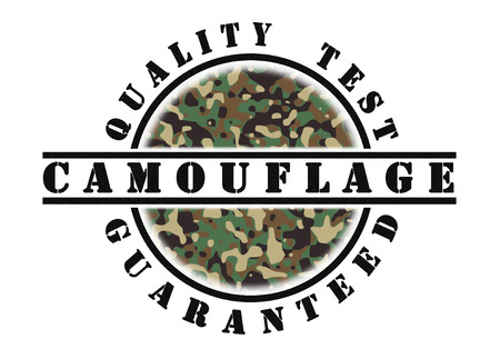 qualify: Quality test guaranteed stamp with a pattern inside, army camouflage
