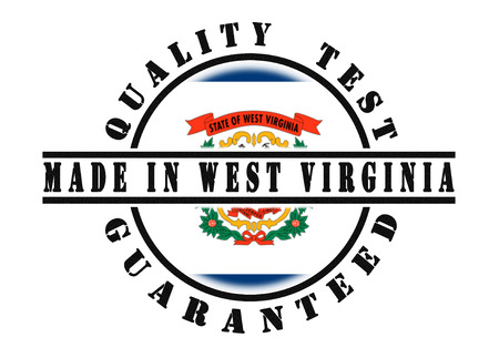Quality test guaranteed stamp with a state flag inside, West Virginia photo
