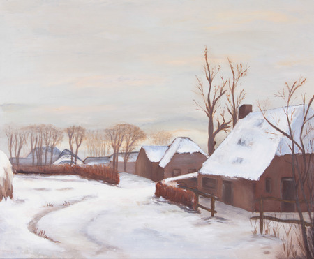 Idyllic winter landscape painting, old farms in a village photo