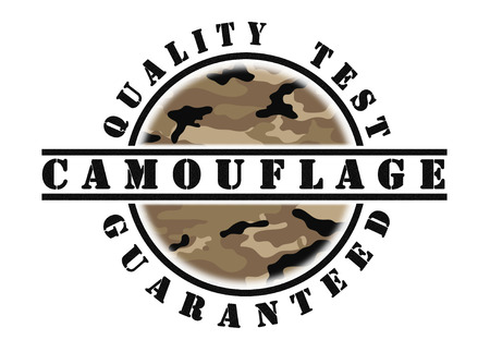 Quality test guaranteed stamp with a pattern inside, army camouflage photo