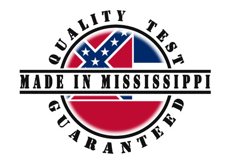 qualify: Quality test guaranteed stamp with a state flag inside, Mississippi